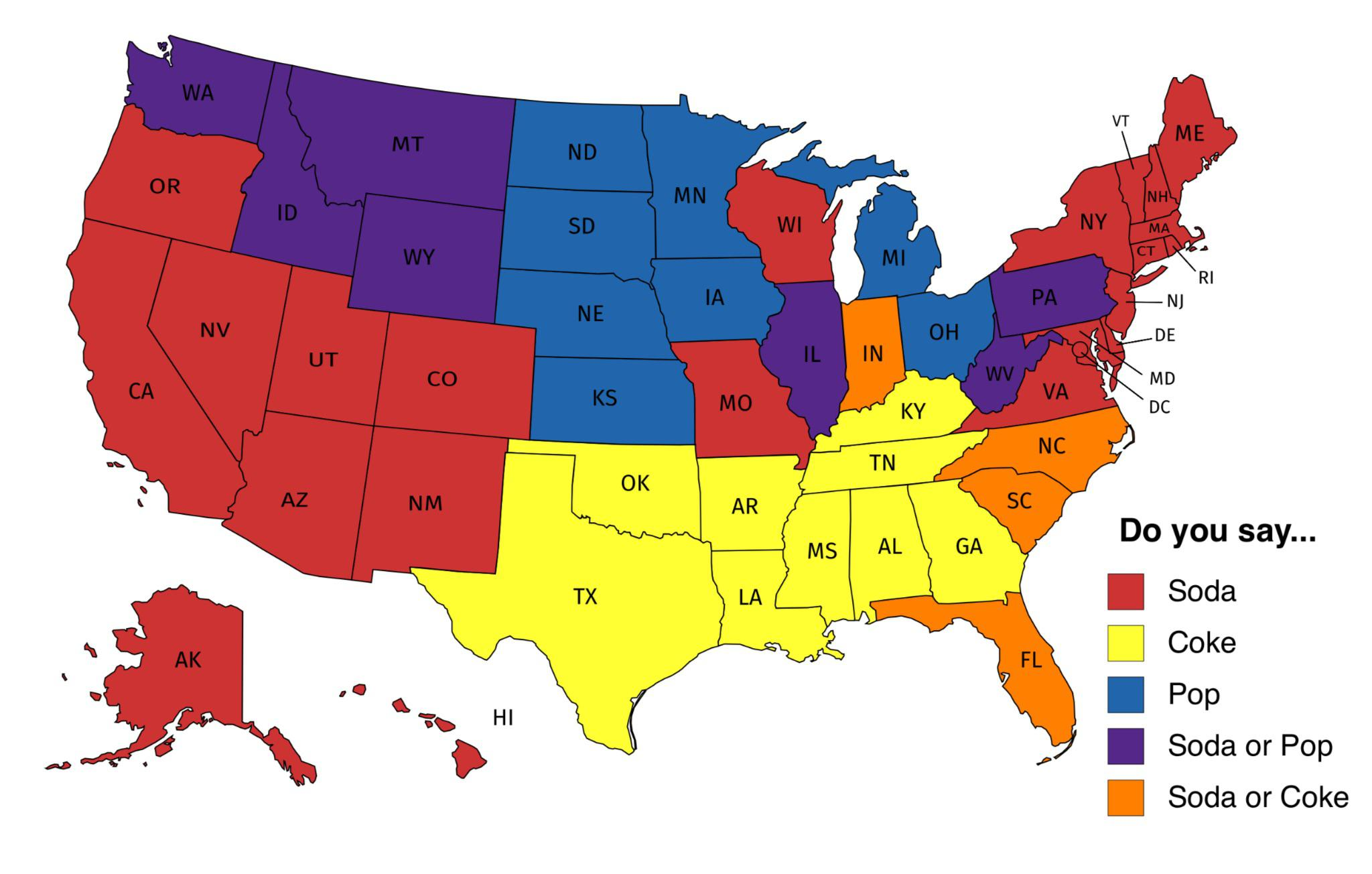 Does Your State Say Soda Pop Coke Or A Combination Mapporn