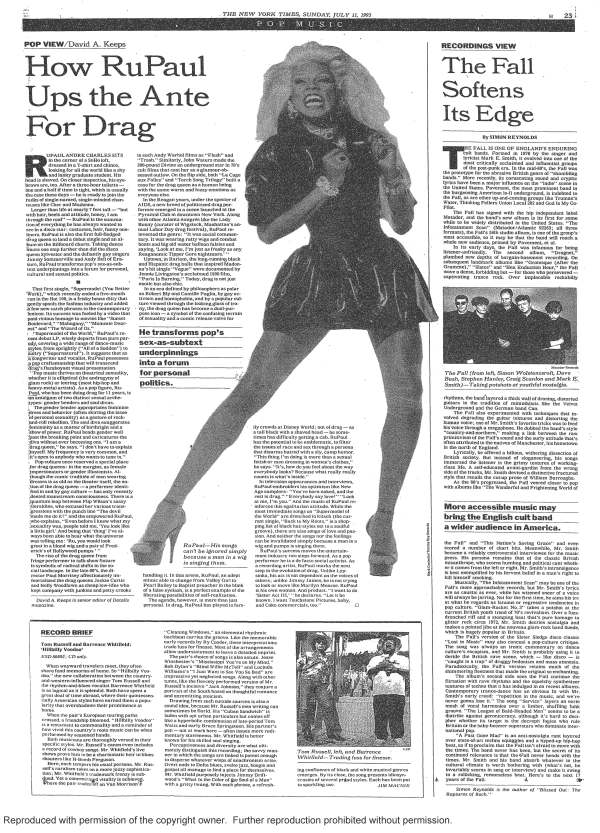 RuPaul's First Feature Article In The New York Times, 1993 ...