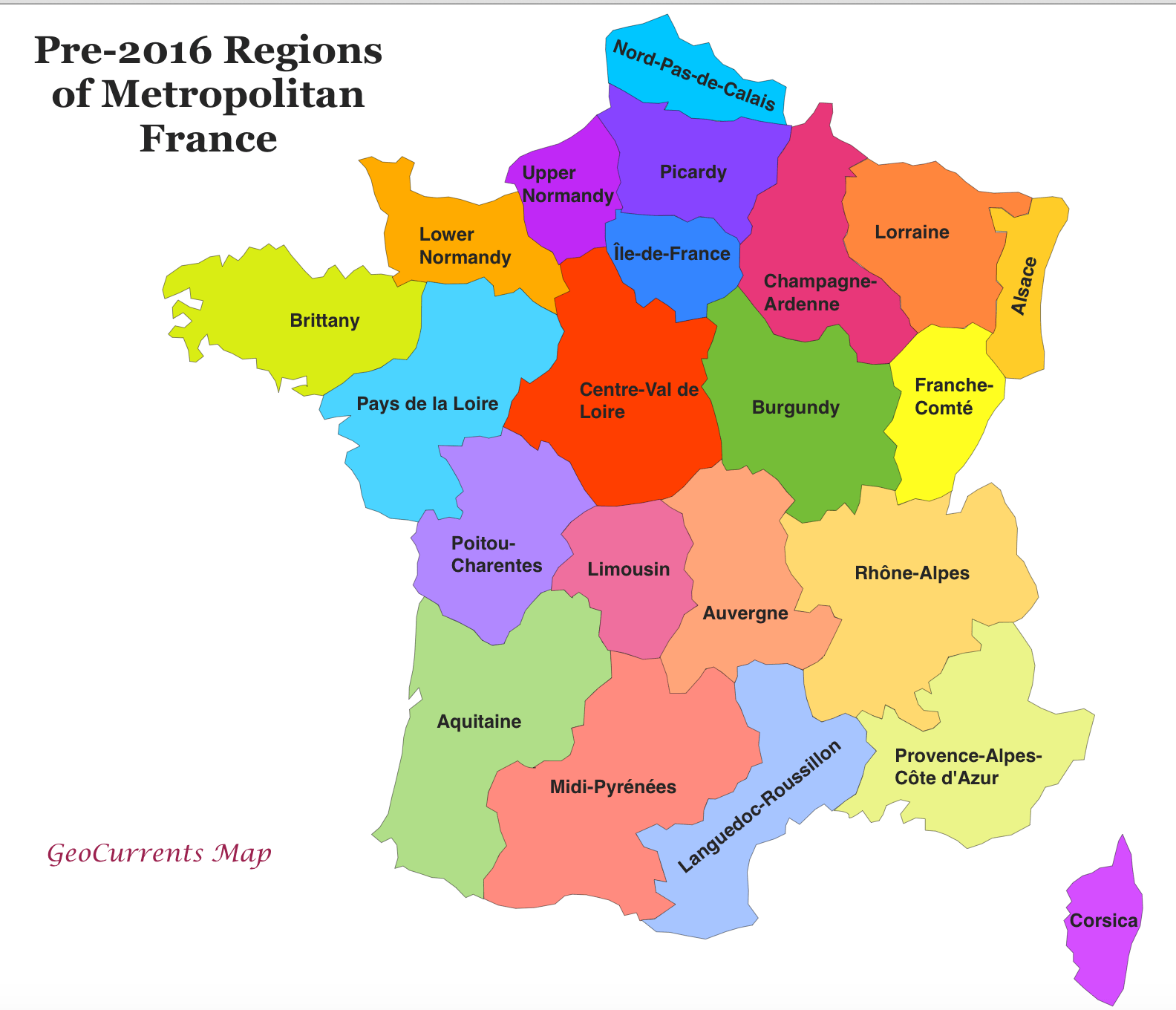 Former Regions Of France X Map