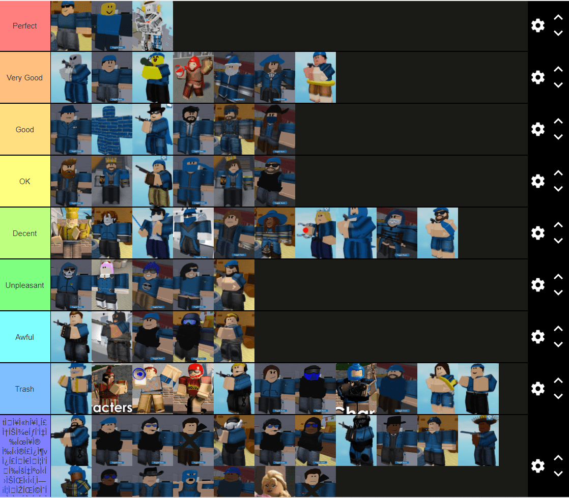 totally not an arsenal skins tier list