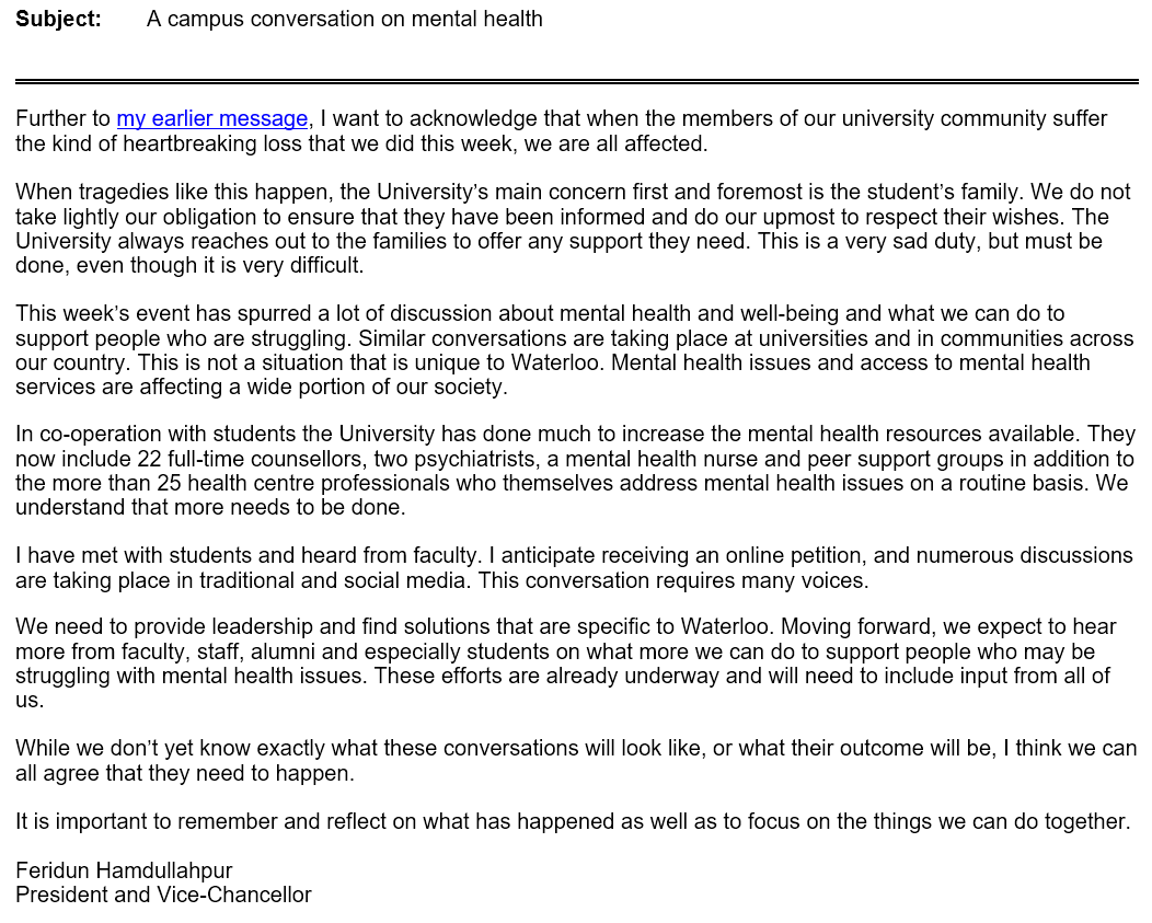 Feridun S Email About Recent Events Addressing Mental