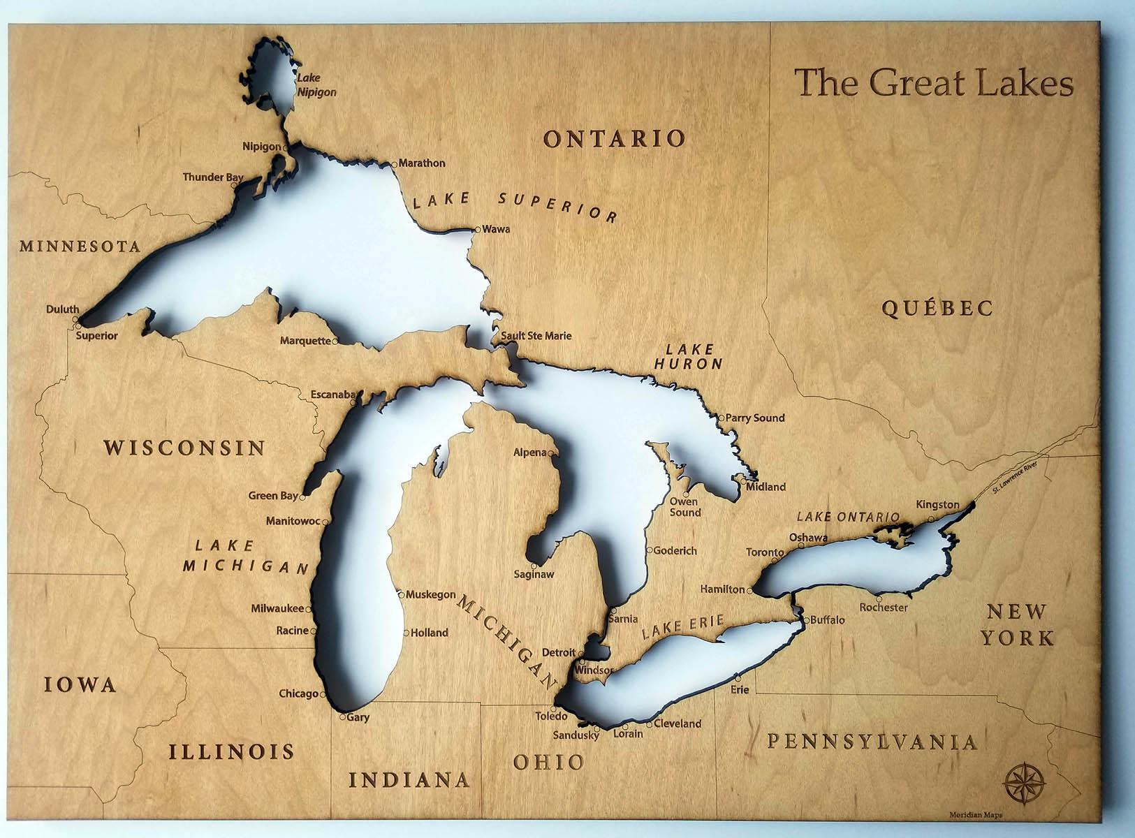 I Made A Wood Burnt Laser Cut Map Of The Great Lakes