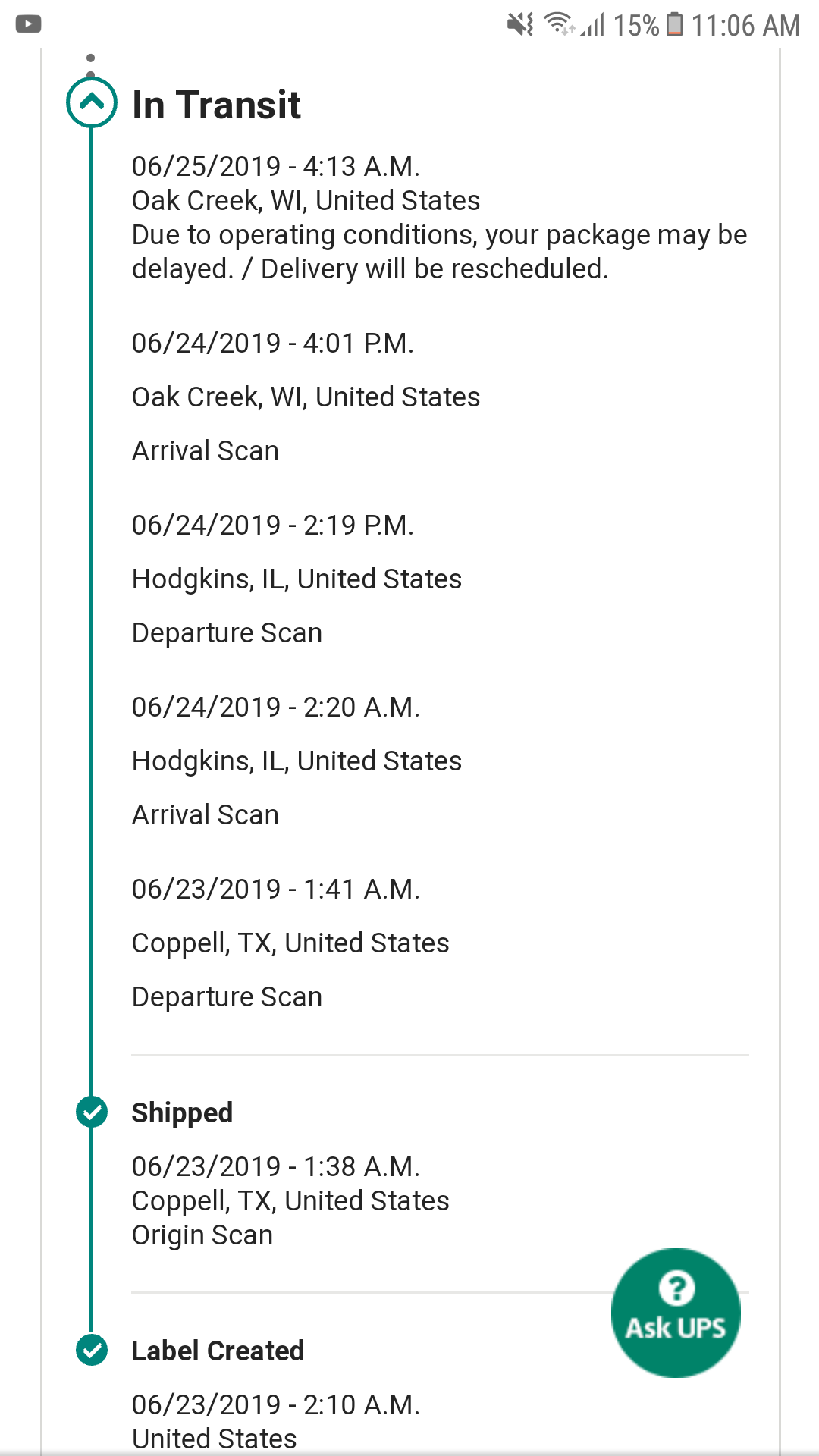 it mean when a package is delayed due
