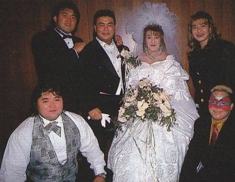 Wedding of Kensuke Sasaki and Akira Hokuto ft. Mutoh, Hashimoto, Bull  Nakano, and Aja Kong. : njpw