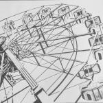 Ferris Wheel Me Fine Felt Tip Pen On 18 X24 2013 I Like Doing My Drawings With Unique Angles In This Case Looking Up From Below The Ferris Wheel Let Me Know What