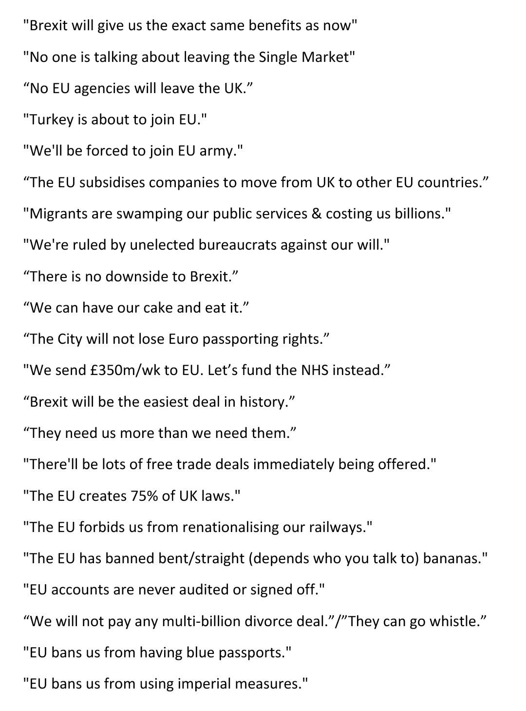 Pop Quiz How Many Of These Pro Brexit Promises Claims Are True Europe