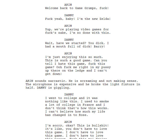 I Forced A Bot To Watch Over 1000 Hours Of Game Grumps And Then Asked It To Write A Game Grumps Transcript Of Its Own Here Is The First Page