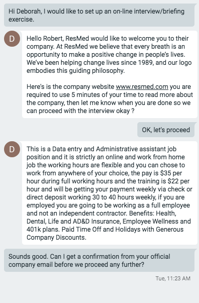 Google Hangouts Interview For A Job Offer Scam Scams