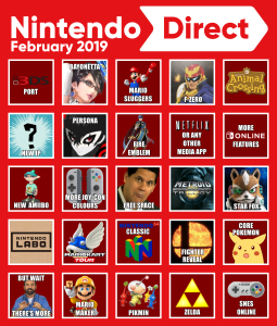 nintendo direct bingo card feb 2019 nintendoswitch