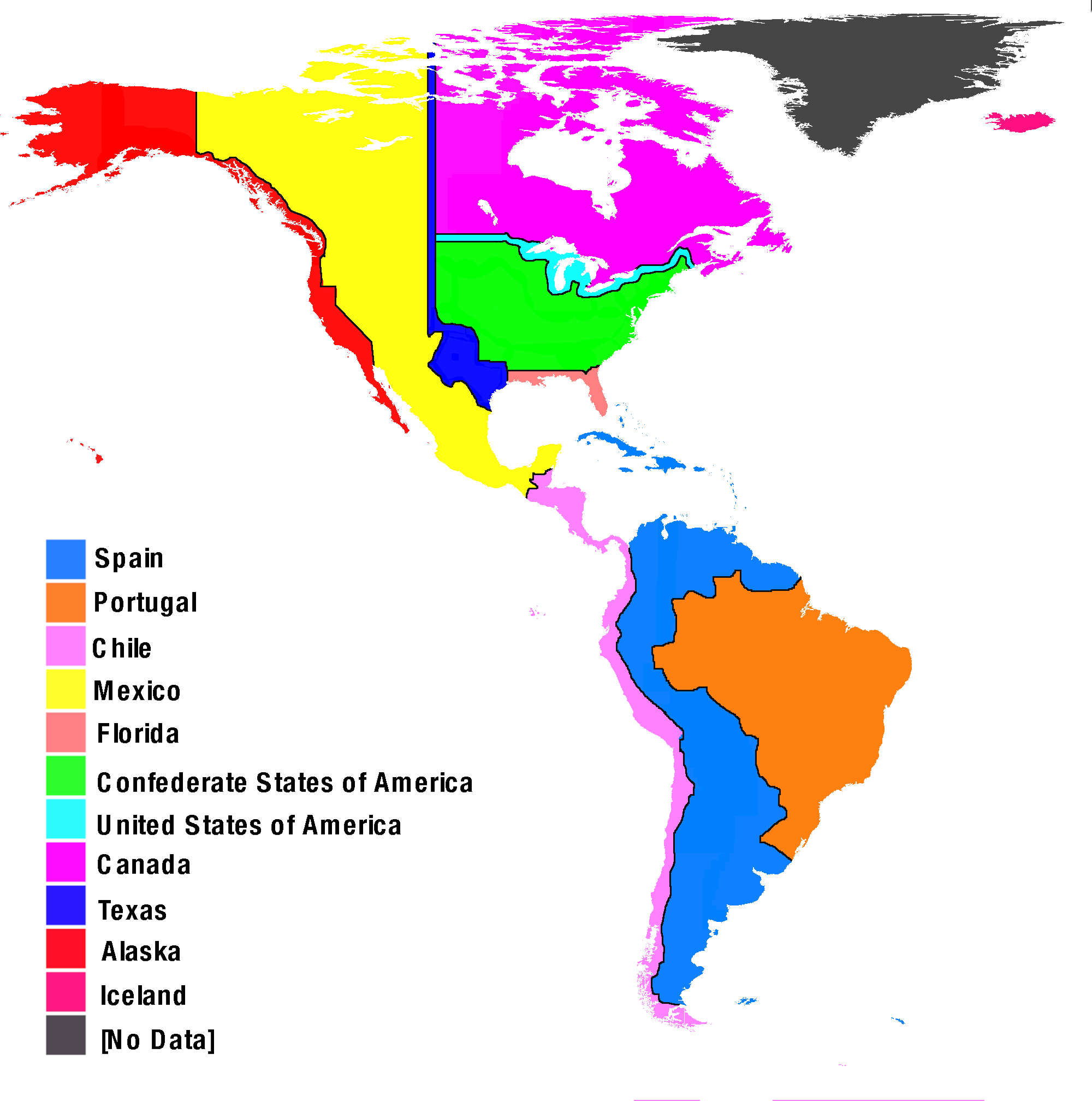 Heavily Researched Alternate Map Of The Western Hemisphere