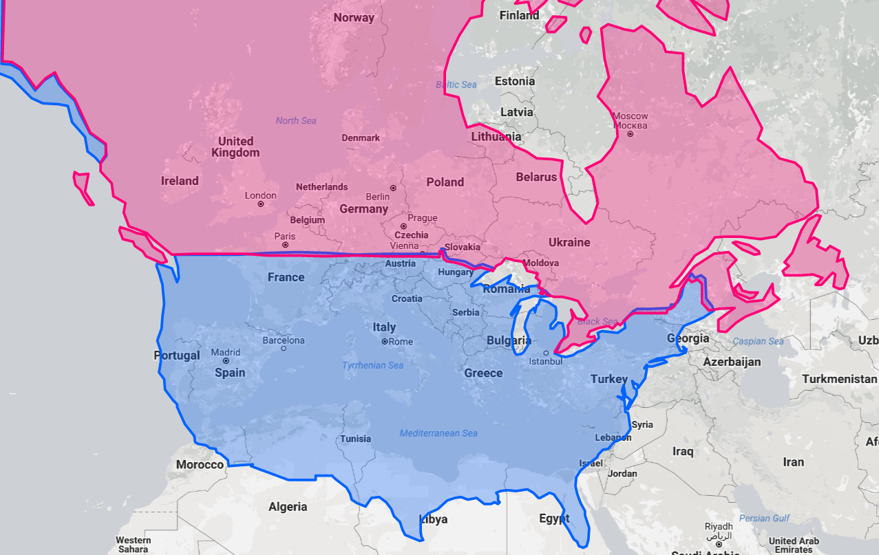 The United States And Canada At The Same Latitudes As
