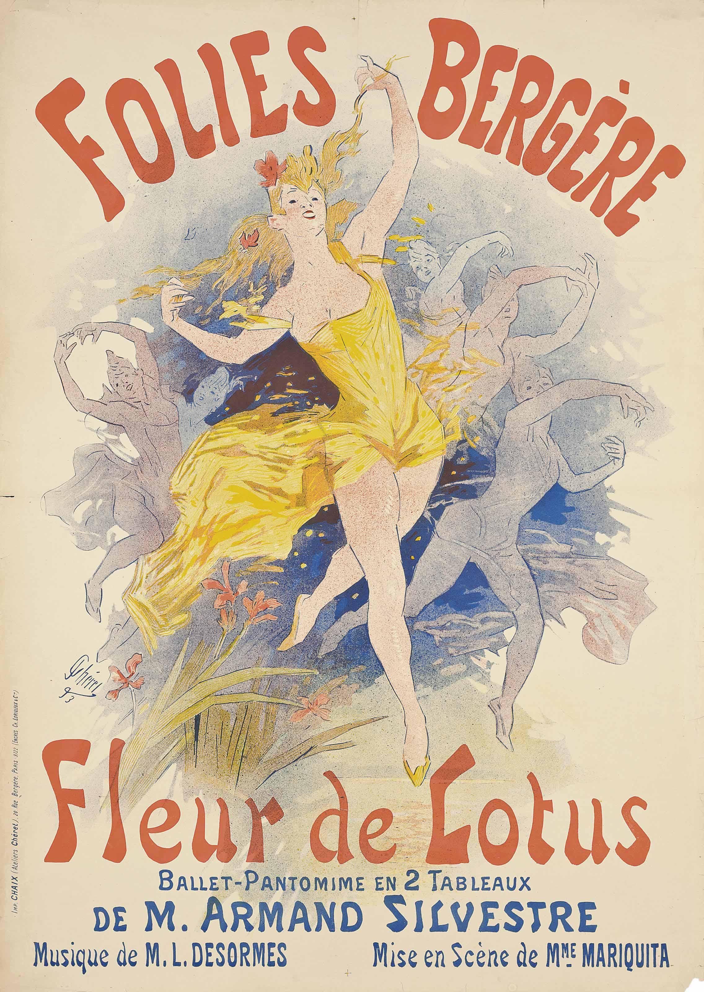fleur de lotus 1893 art nouveau poster