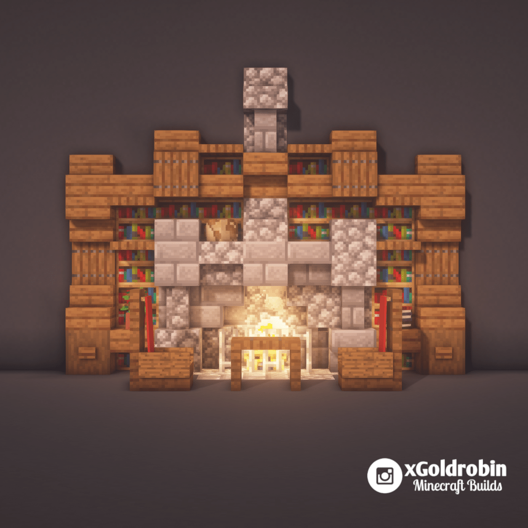 Here Is A Small Bookshelf With Fireplace Design Minecraft