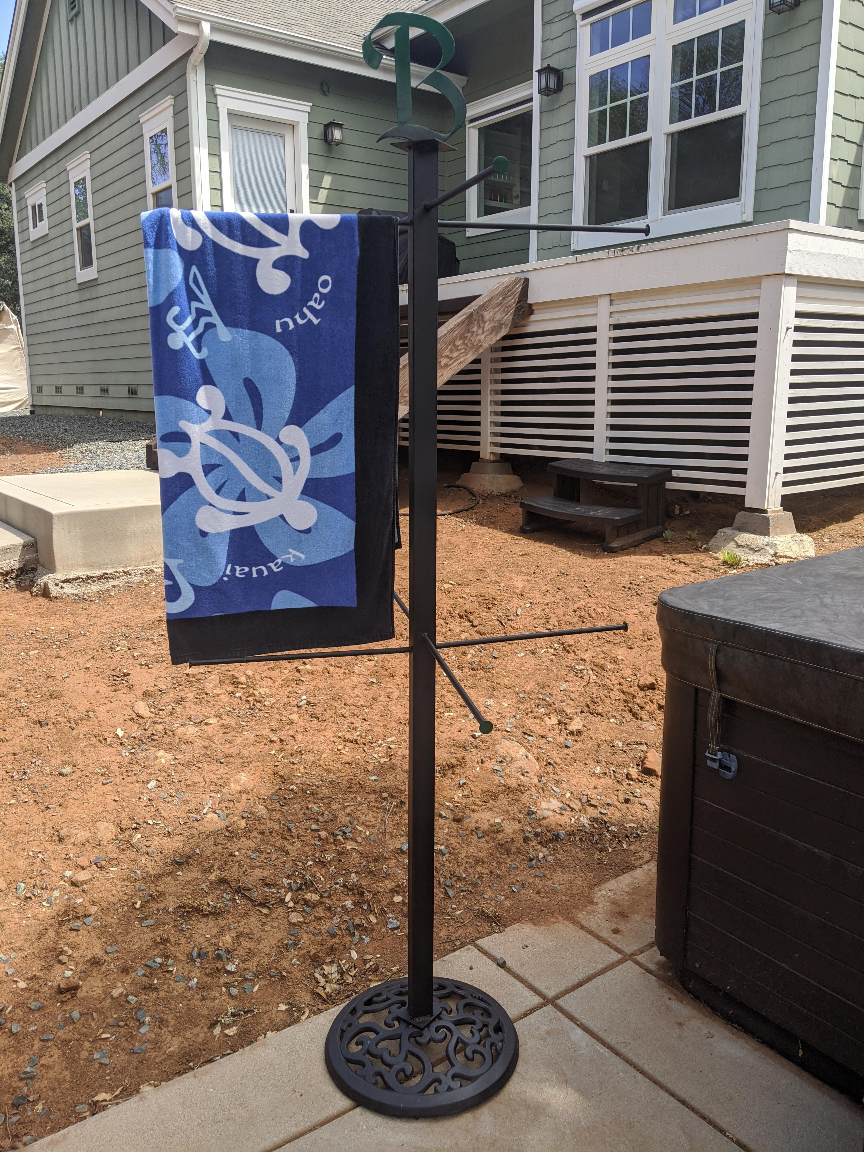made an outdoor towel rack for my first