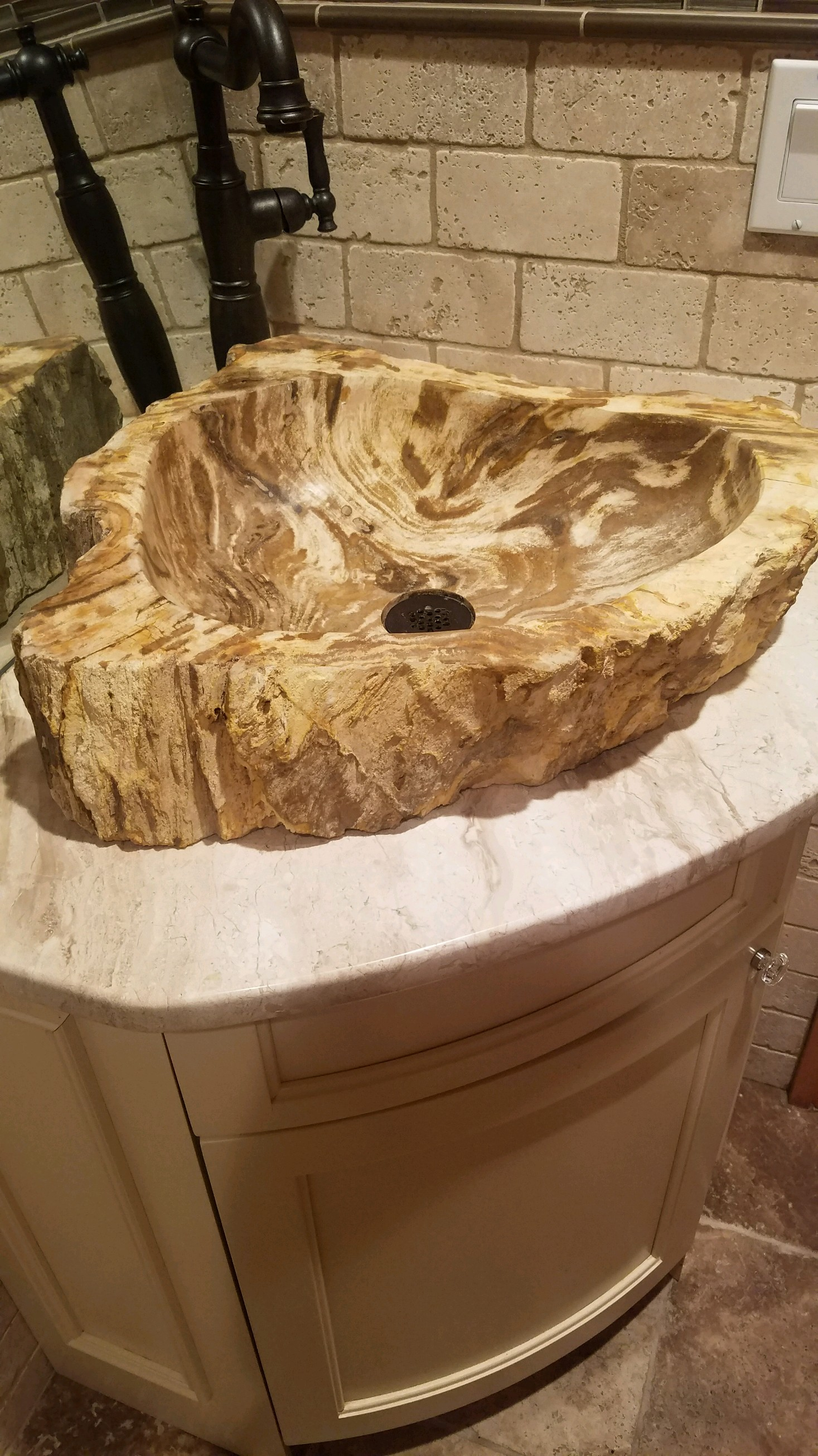 sink made from petrified wood pics