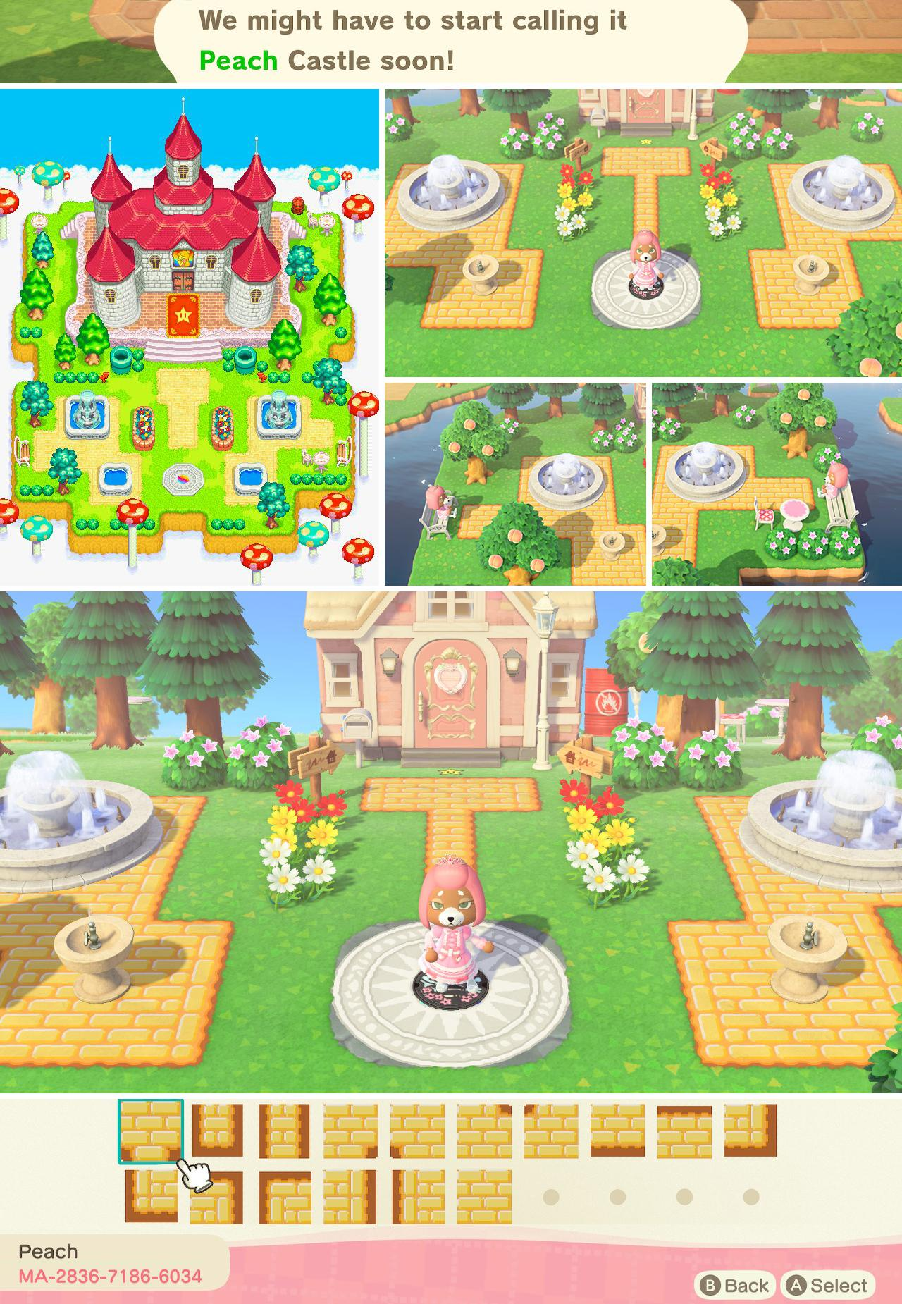 My Name Is Peach One Of My Villagers Gave Me The Idea To Turn My Garden Into The Exterior Of Peach S Castle As Seen In Mario Golf Advance Tour Re Imagined And It S