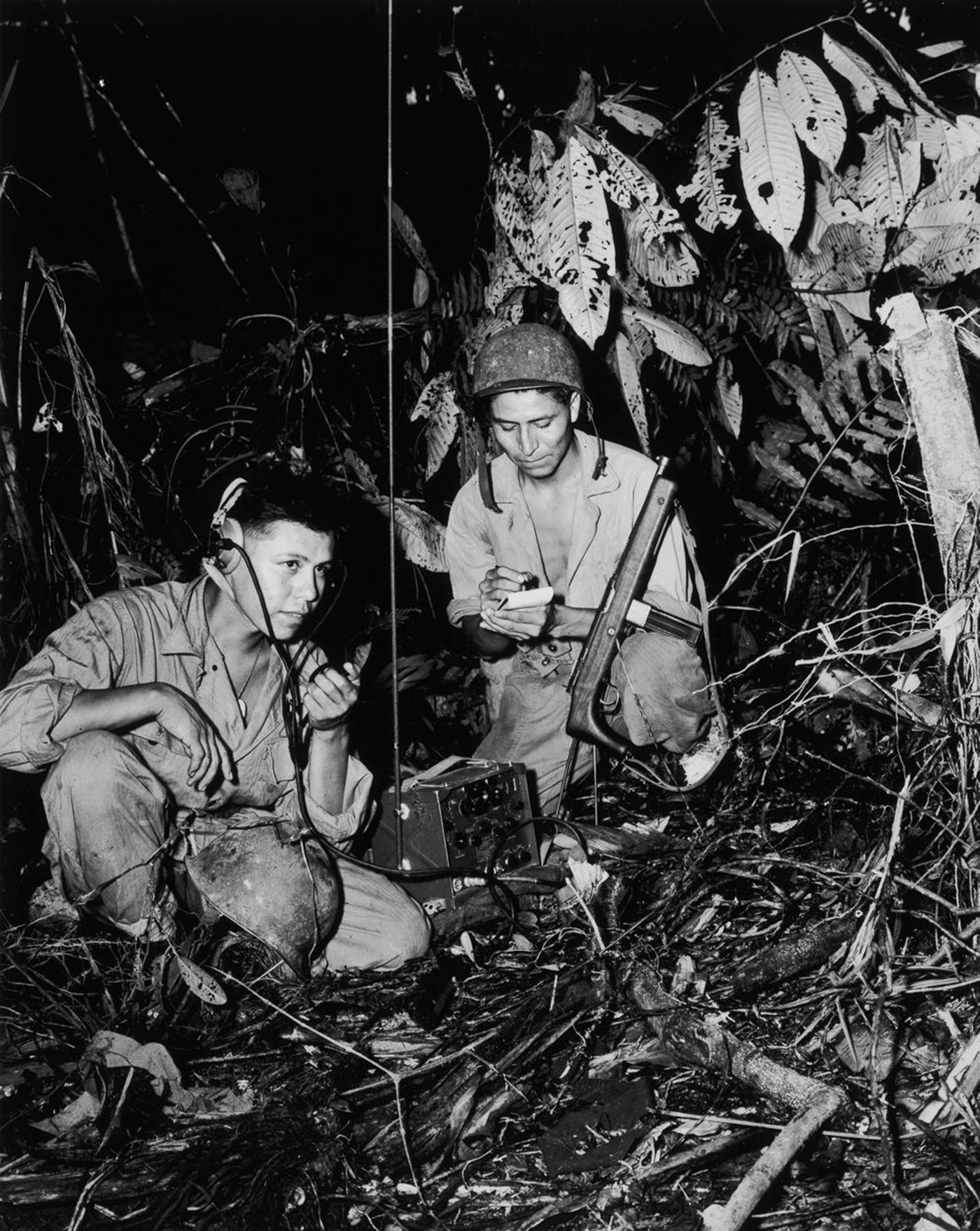 Navajo Code Talker Marines Henry Bake Jr And George H Kirk Transmit Messages From