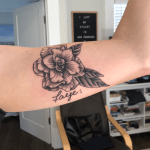 My Very First Tattoo Done By Evan Esk Wilson At War Horse Tattoo In Berkeley California A Gardenia With Faye Underneath In My Grandmother S Handwriting Tattoos