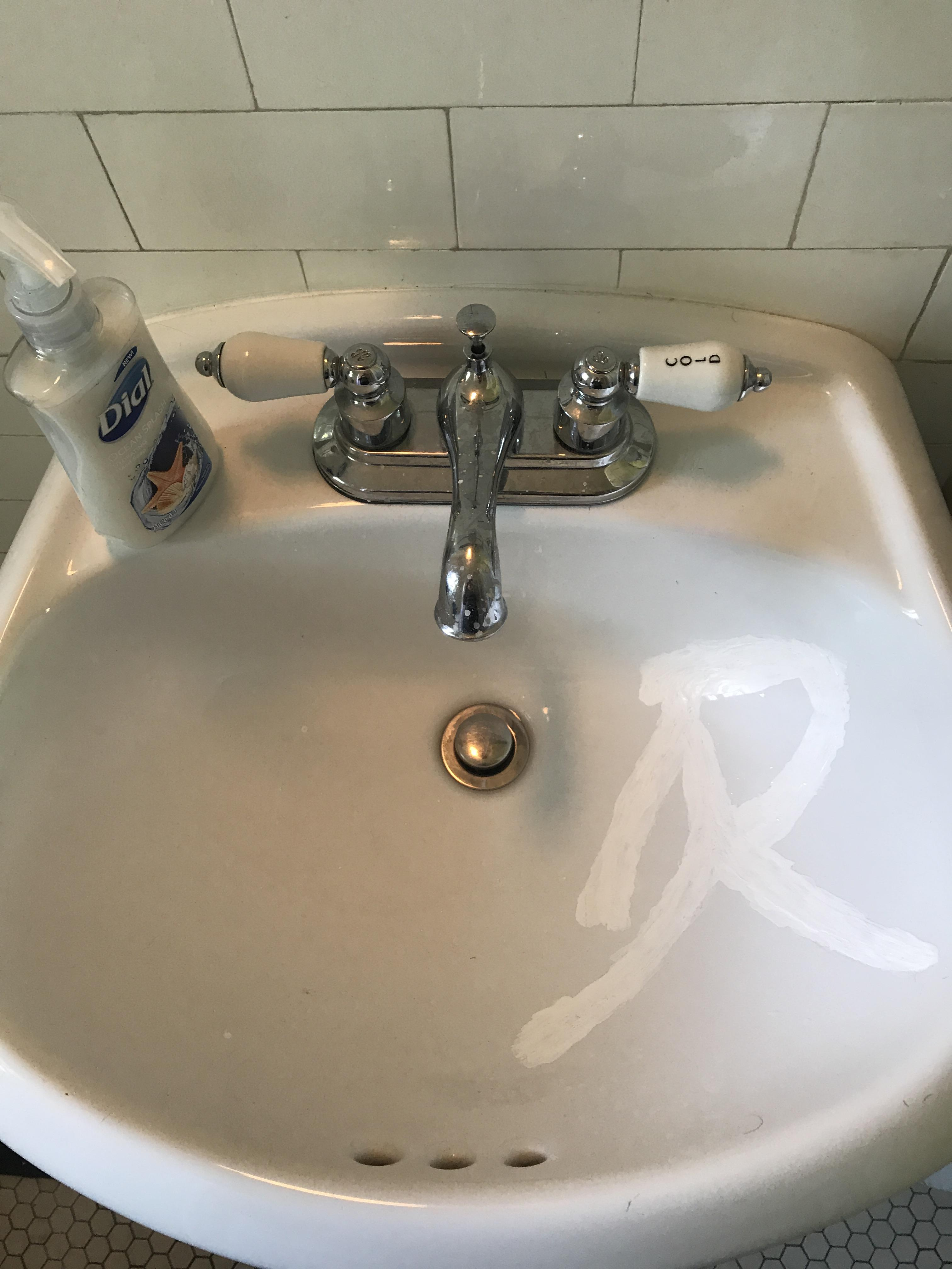 a visible mend for my cracked sink it