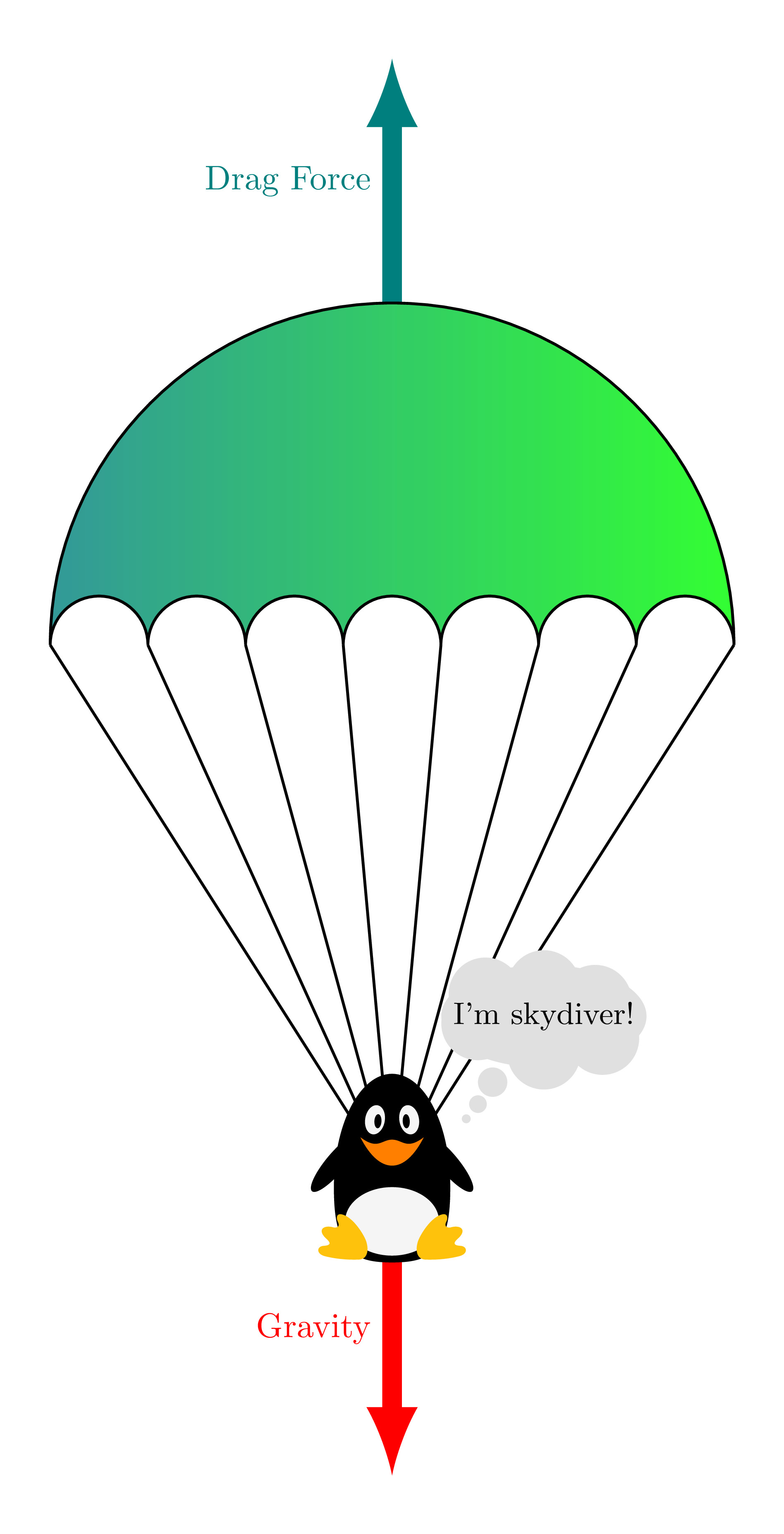 Free Body Diagram Of Skydiving Parachute System In Tikz