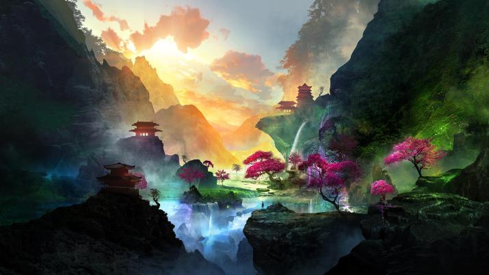 Waterfall Landscape [2560 x 1440]