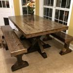 Fiancee And I Built A Farm Table Tops Are 1x6 Joined With Pocket Screws Legs Are 2x4 And 4x4 Woodworking