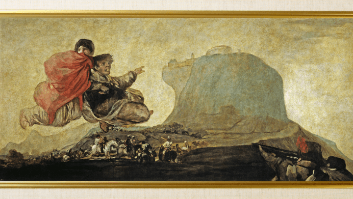 Asmodea or Fantastic Vision, one of Goya's 14 Black Paintings (1820-1823) with partial frame – light paint textures only really works as lock screen [1920×1080]