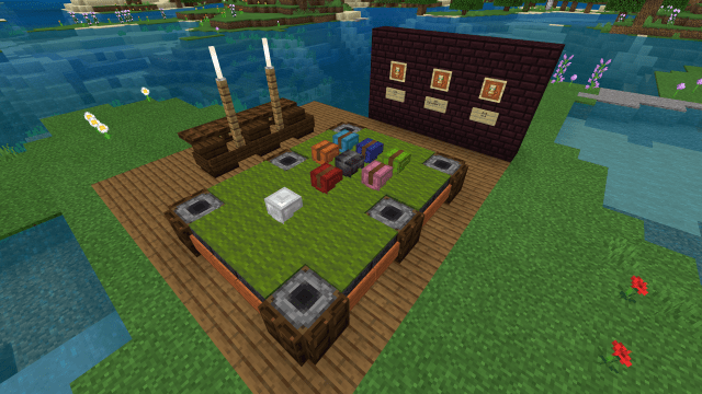 Made a design of a pool table: Minecraft