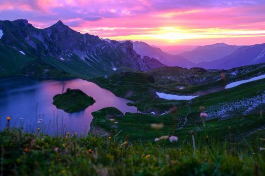 Schrecksee Alps during sunset