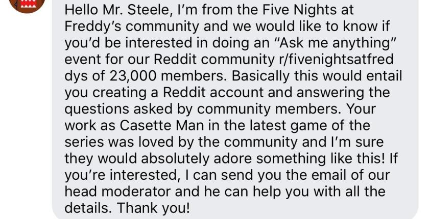 contacted david steele(voice of casette man) on facebook