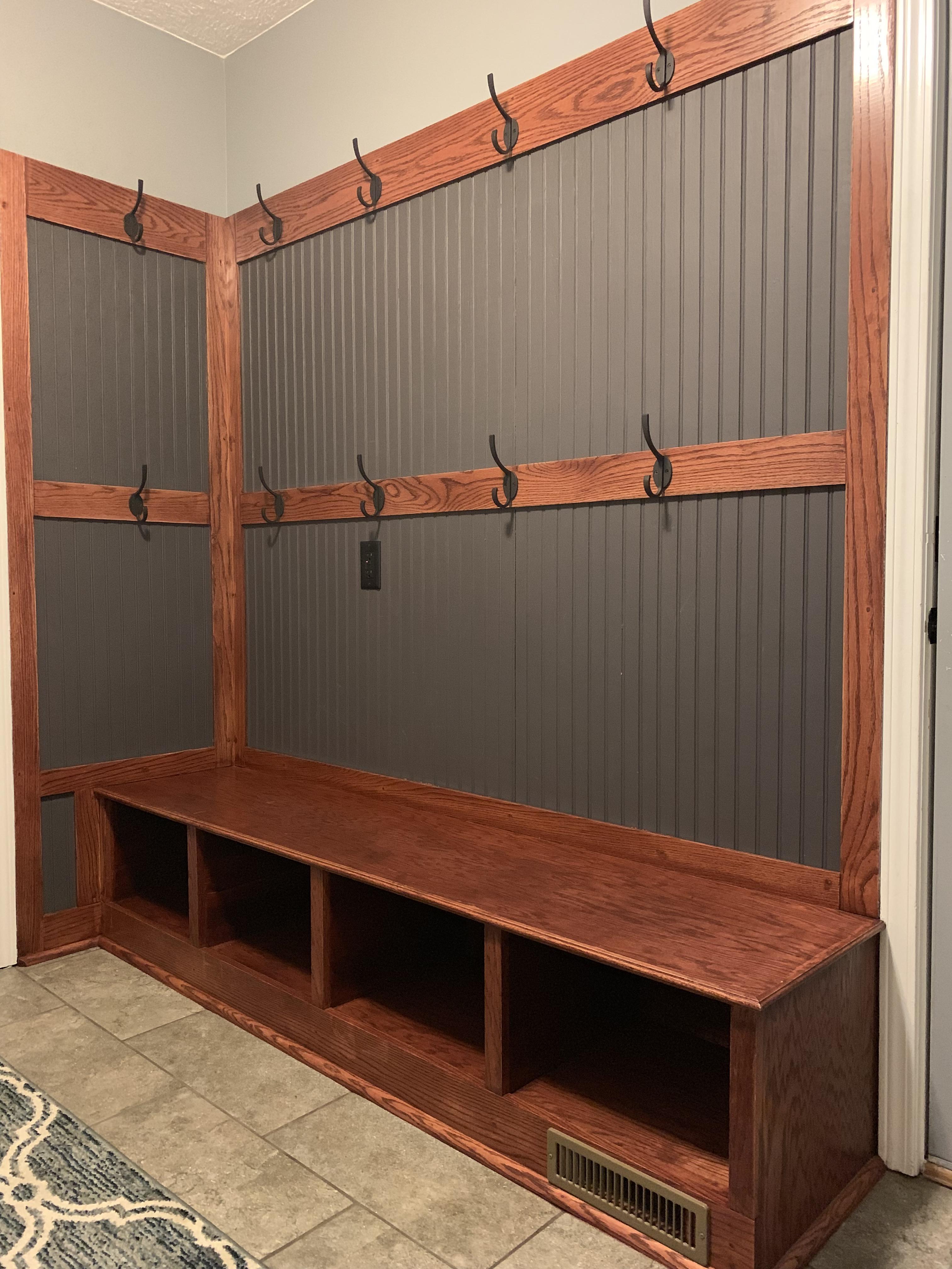 entryway shoe storage and coat hanger
