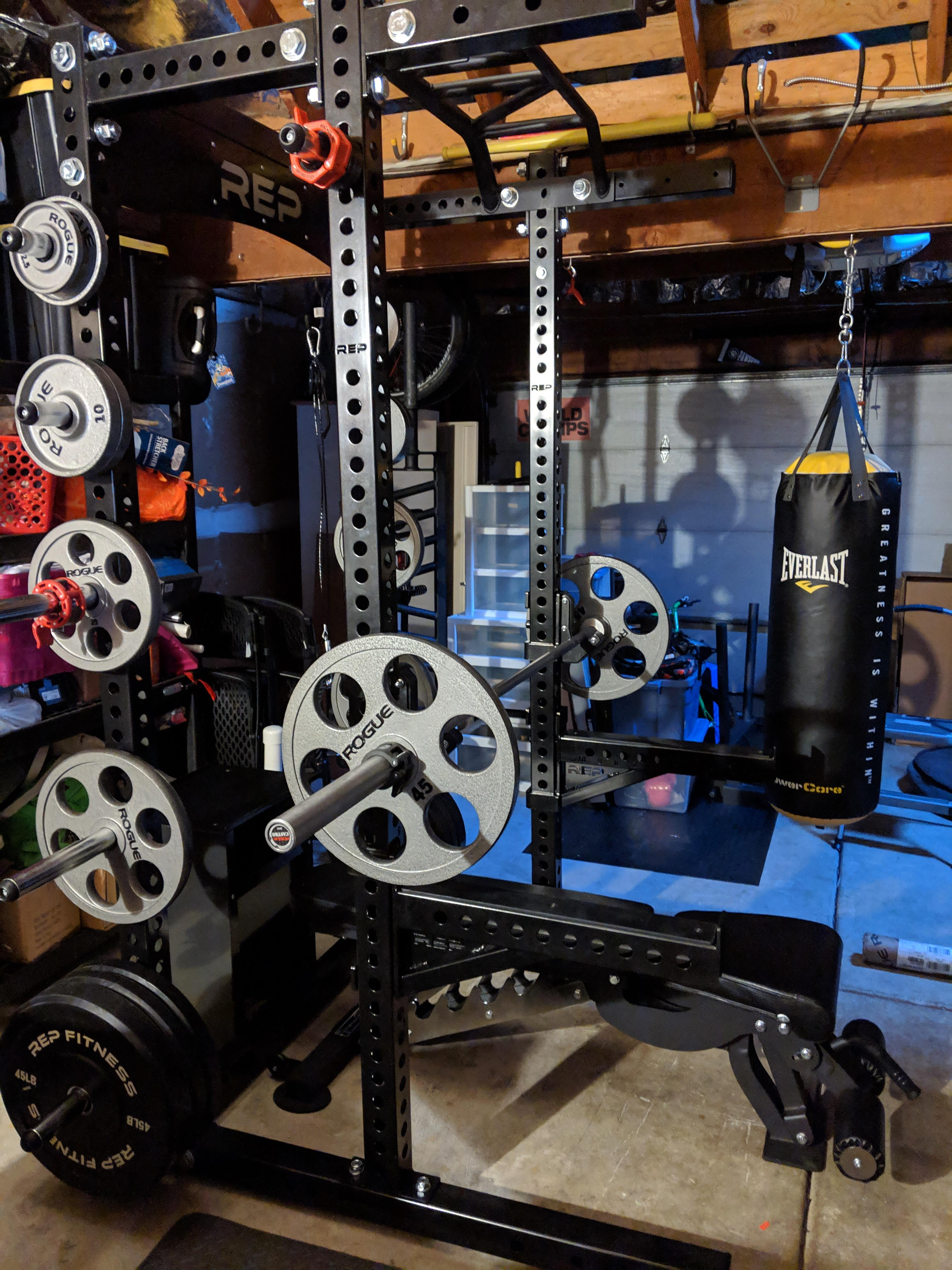 rep fitness half rack with rogue