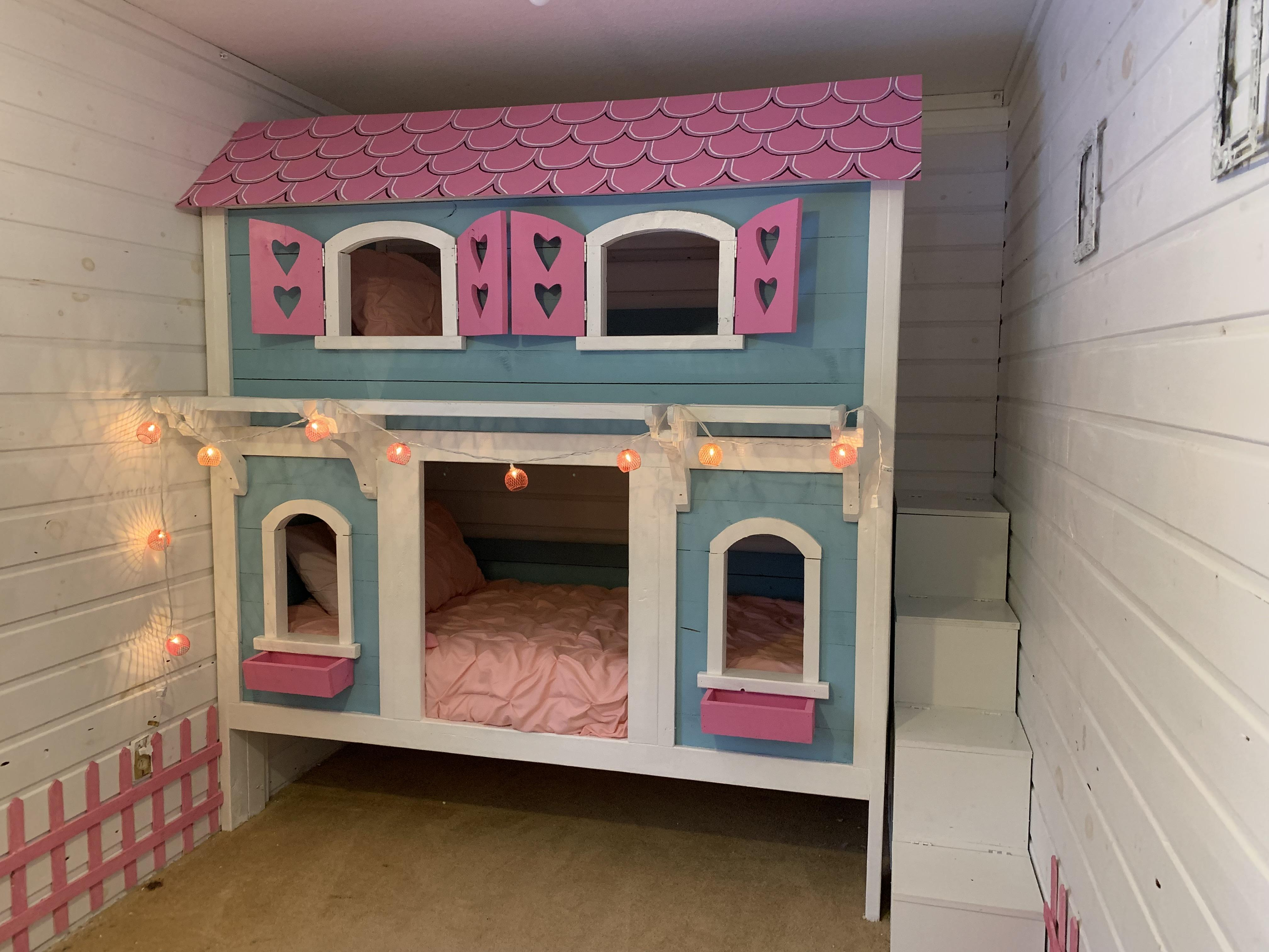 Bunk Bed I Made For My Girls Not My Design But Edited The Original And Built In Stair Storage For Their Many Toys Woodworking