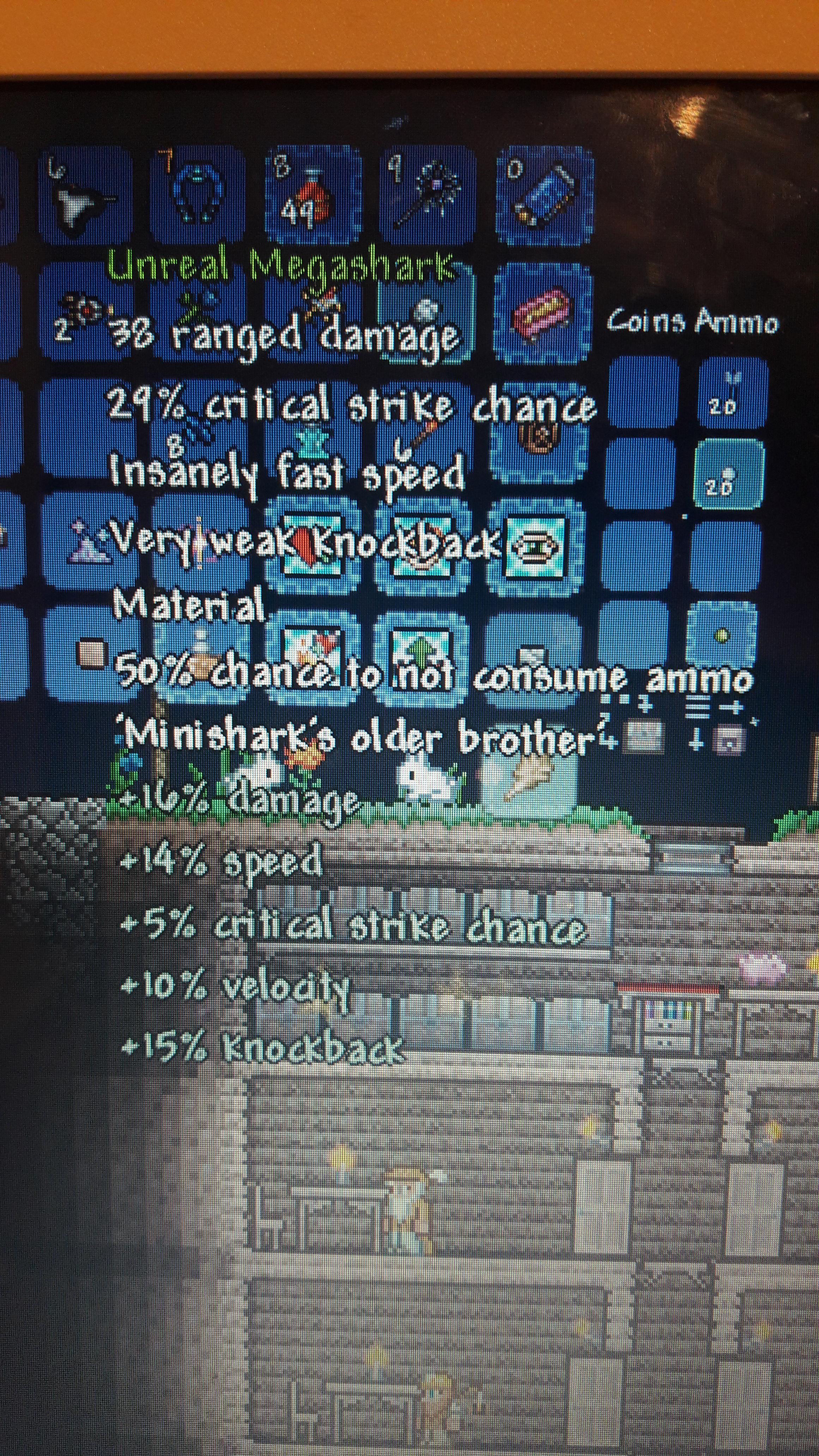 After One Reforge I Got An Unreal Rail Gun And Crafted An Unreal Megashark On The First Try Terraria