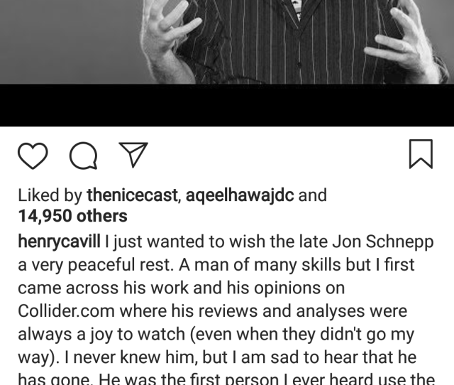 Otherother Henry Cavill Extends His Condolences To Jon Schnepp