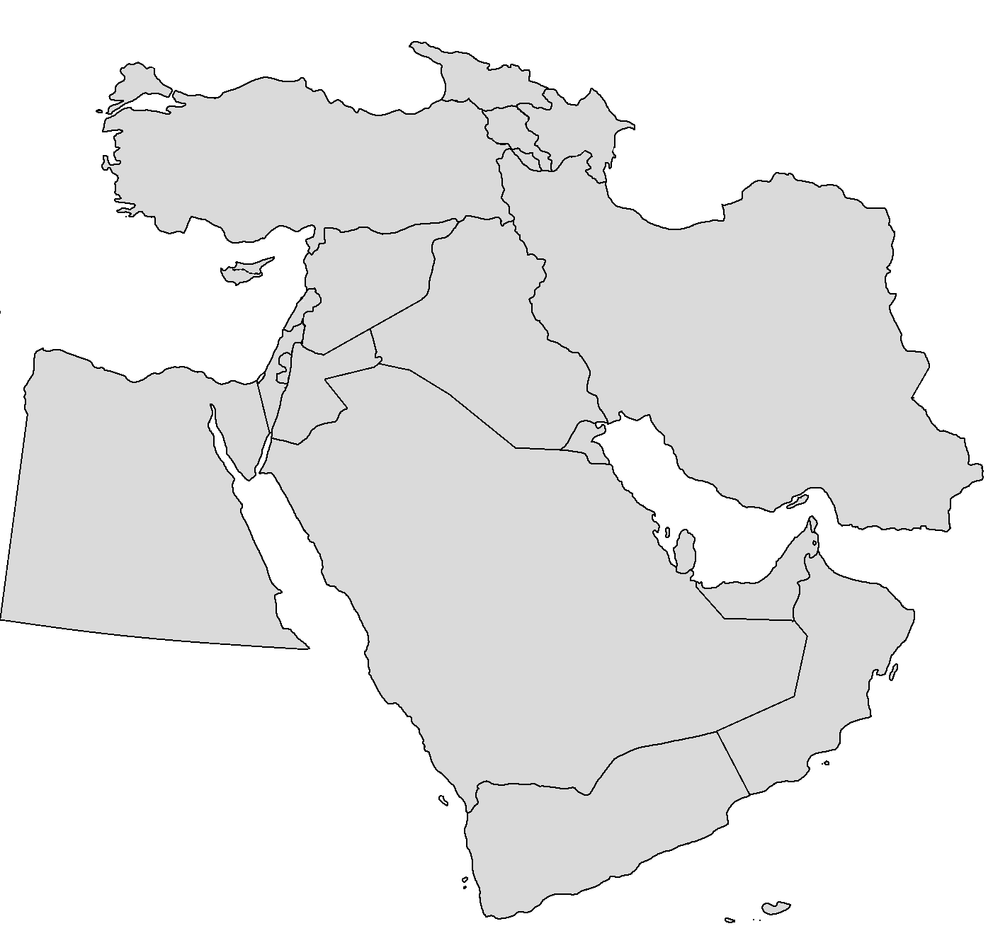 Blank Middle East Map For Mapmaking Purposes Map