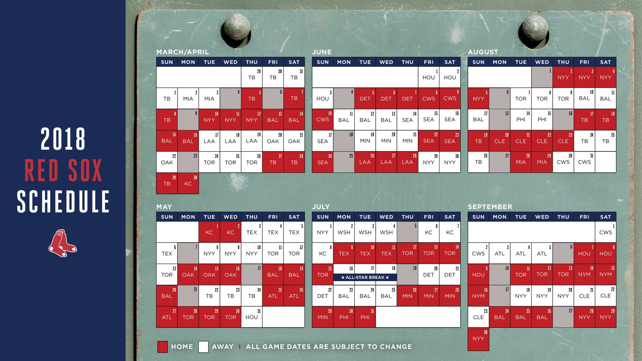 Here S The Entire Red Sox Schedule In A Single Image