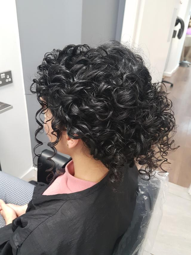 trying out a natural curly hair style for my wedding