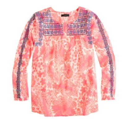 Pink Floral Embroidered Top JCrew