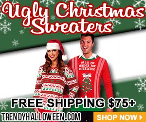 They're oh, so, ugly, but still Christmas sweaters are trendy. Shop via trendyhalloween.com