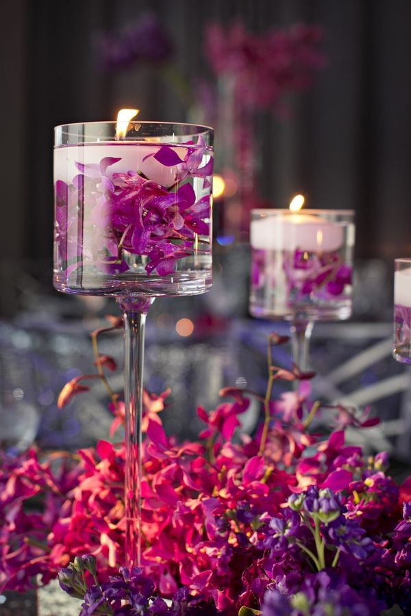 View In Gallery Floating Candle Centerpiece With Flower14
