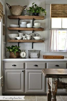 65 Ideas Of Using Open Kitchen Wall Shelves   Shelterness gray cabinets   rustic open shelves looks great together