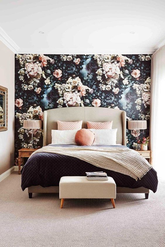 65 Bedrooms With Wallpaper Accent Walls Shelterness