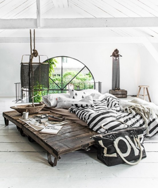 This gorgeous industrial style bed simply amazes (via digsdigs)