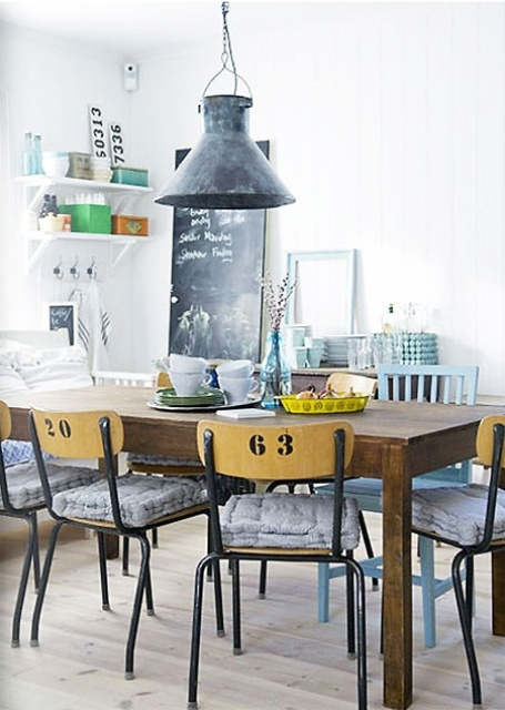 Industrial style lamps and chairs could be found in many interiors nowadays (via digsdigs)