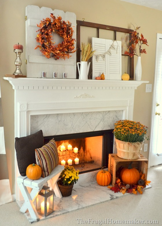 87 Exciting Fall Mantel D    cor Ideas   Shelterness exciting fall mantel decor ideas      Vintage shutters and doors are perfect  things to hang a wreath or a bunting on and