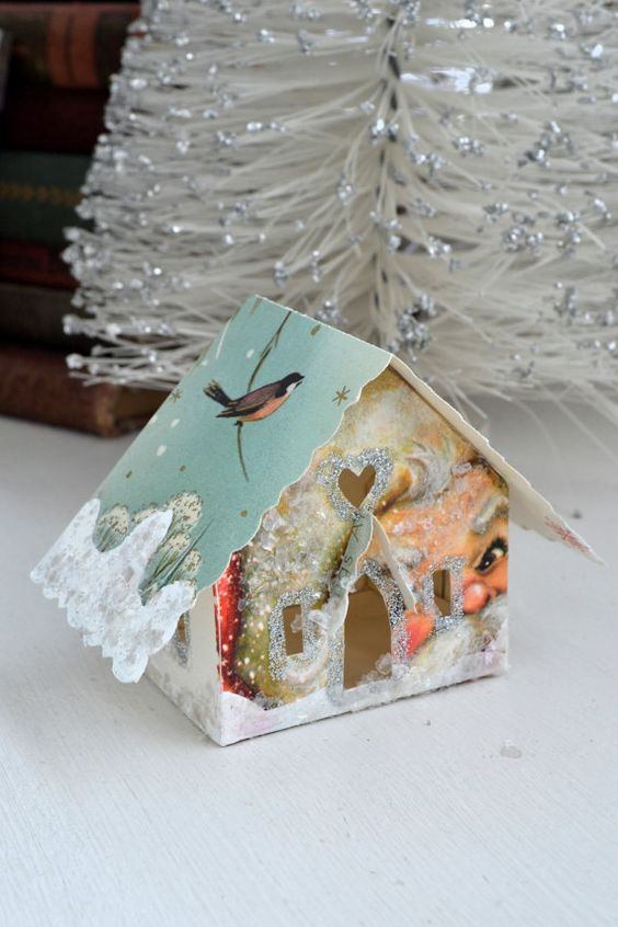 Christmas card glitter house can be used as an ornament or just decor