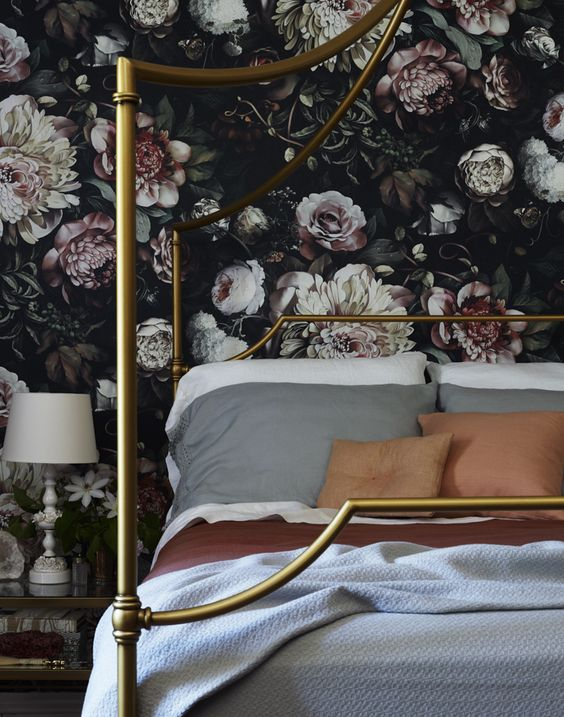 make your bedroom exquisite with moody floral wallpaper and some metallic accents