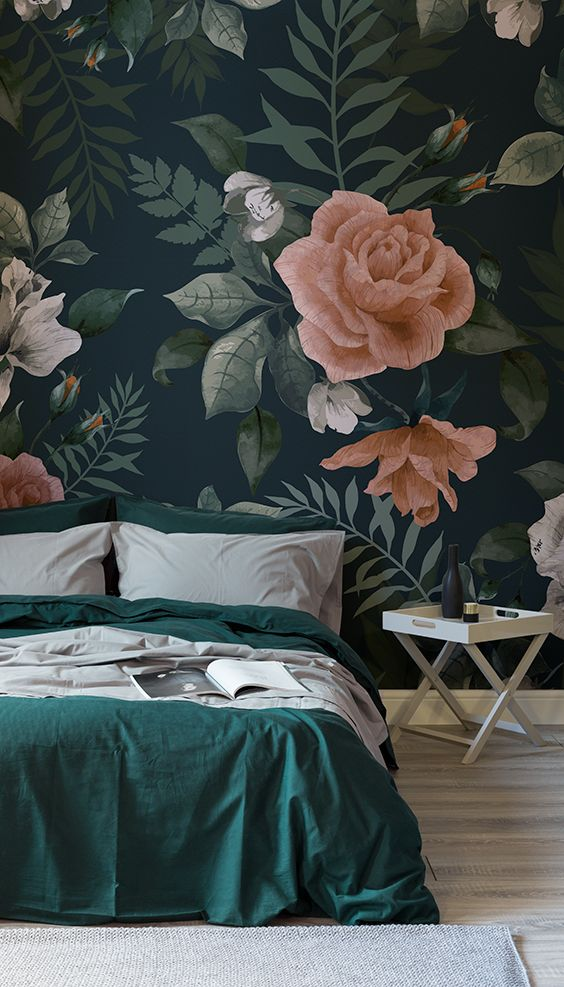 oversized floral print wallpaper to make a statement in a bedroom