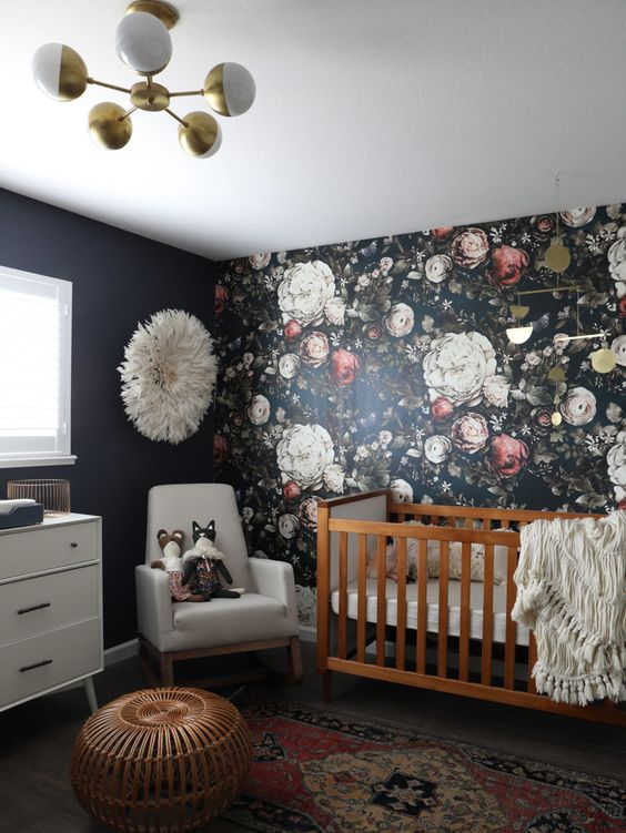 a dark floral wallpaper accent wall for a girl's room